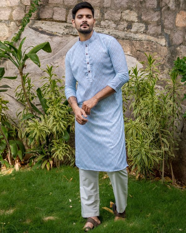 Powder blue jaal printed kurta and off white pants - set of two 2