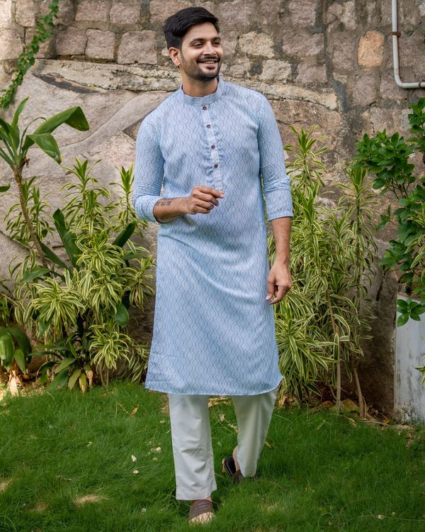 Powder blue jaal printed kurta and off white pants - set of two 1