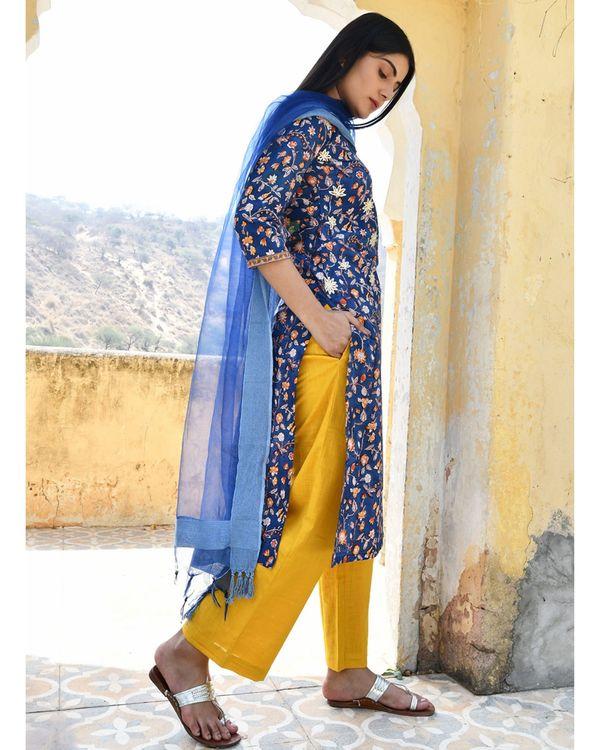 Dark blue floral printed kurta with yellow pants and dupatta - set of three 3