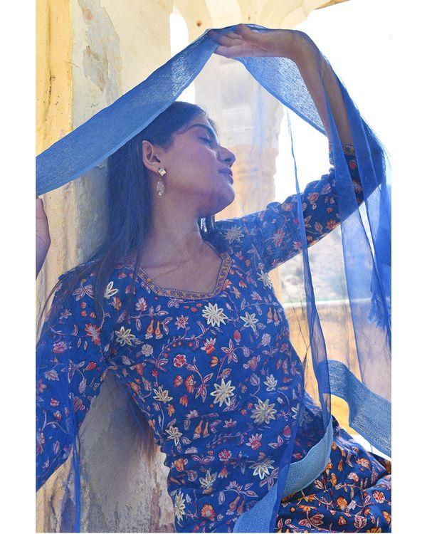 Dark blue floral printed kurta with yellow pants and dupatta - set of three 1
