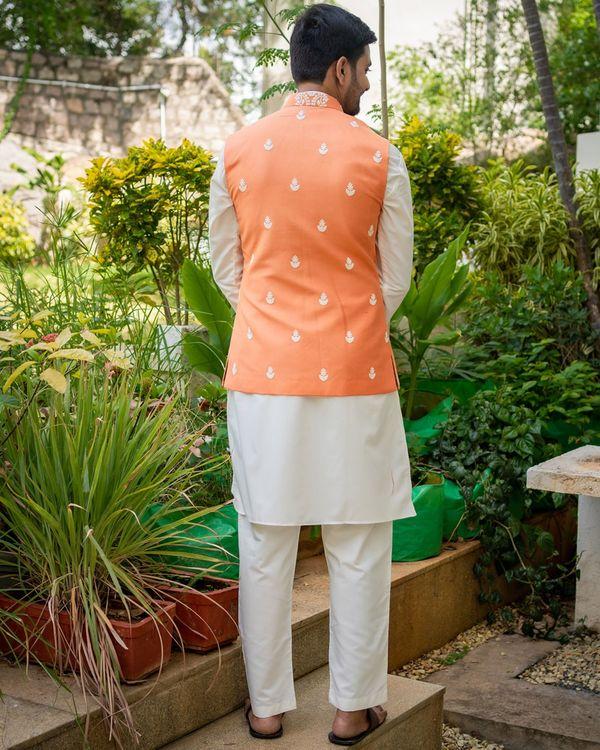 Tangerine embroidered nehru jacket with off white kurta and pyjama - set of 3 1