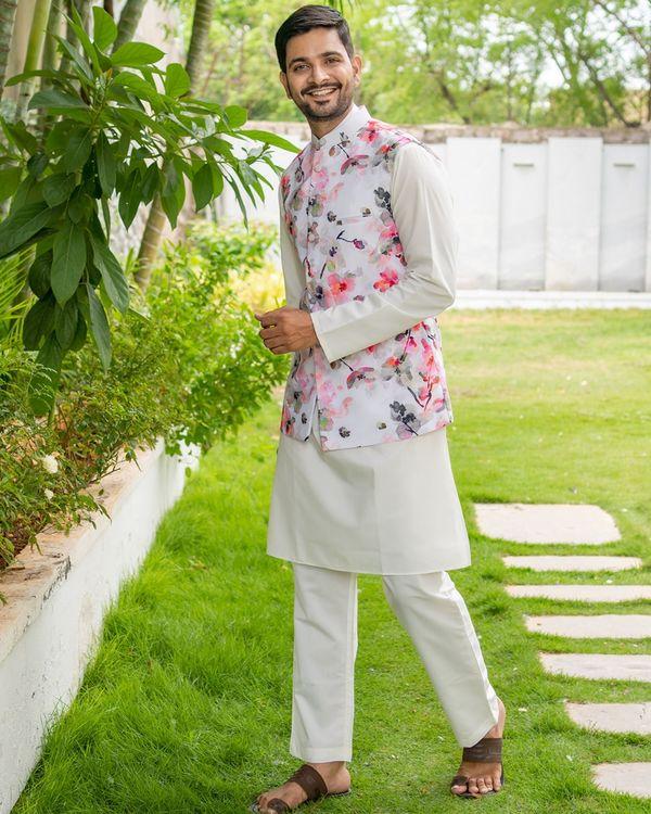 Floral printed nehru jacket with white kurta and pyjama - set of 3 2