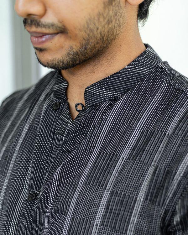 Black striped cotton dobby shirt 3