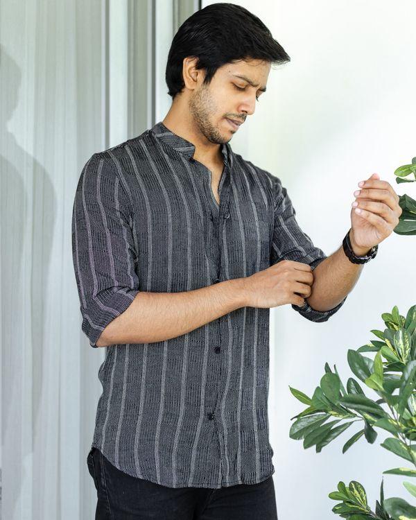 Black striped cotton dobby shirt 2