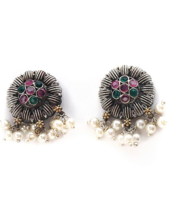 Peacock floral dual tone choker and earring - set of two 2