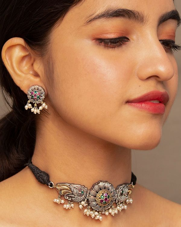 Peacock floral dual tone choker and earring - set of two 1