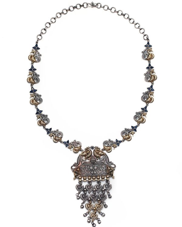 Paisley jali motif dual tone necklace and jhumka with blue stones - set of two 1