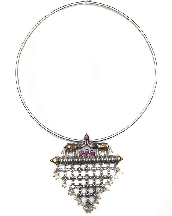 Elephant jali motif dual tone necklace 1