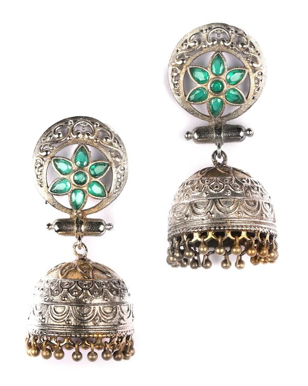Dual toned floral antique dome jhumka 1