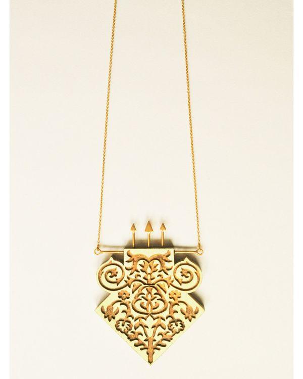 Hand crafted teak wood neckpiece 1