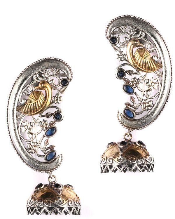 Dual toned peacock ear cuff with jhumka 2