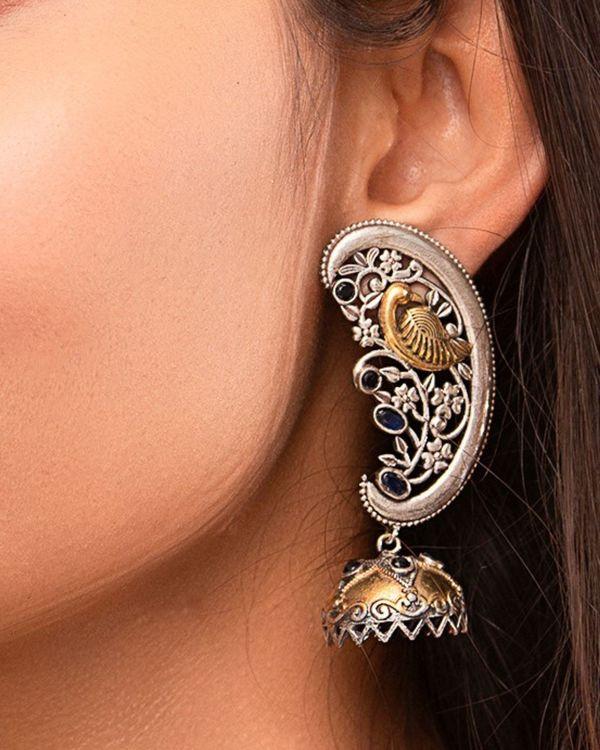 Dual toned peacock ear cuff with jhumka 1