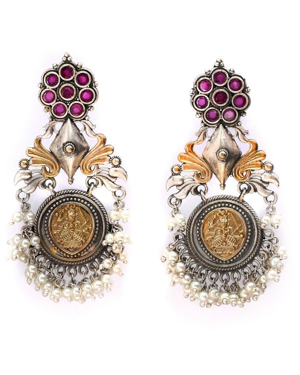 Dual toned beaded antique peacock earring 2