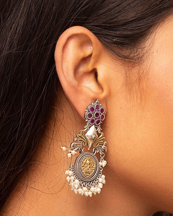 Dual toned beaded antique peacock earring 1