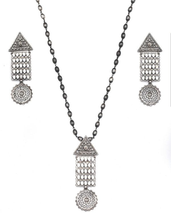Geometric drop down jaal necklace & earrings - set of two 4