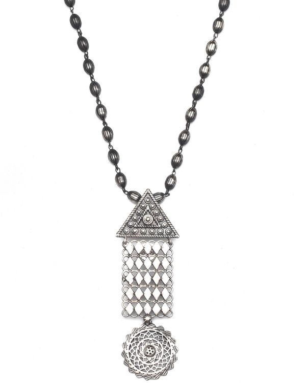 Geometric drop down jaal necklace & earrings - set of two 3