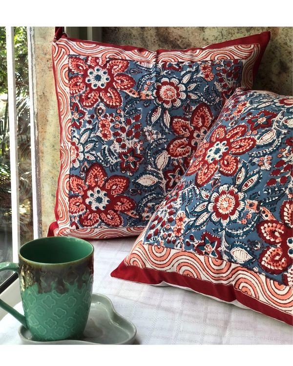 Indigo and red floral sanganeri handblock printed cushion cover - set of two 3