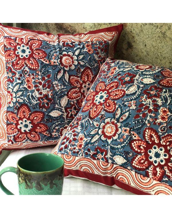 Indigo and red floral sanganeri handblock printed cushion cover - set of two 2