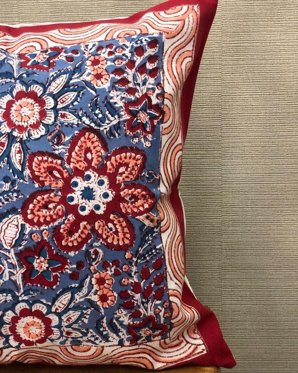 Indigo and red floral sanganeri handblock printed cushion cover - set of two 1