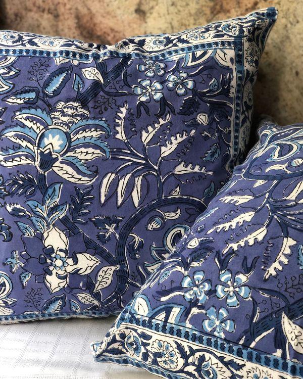 Indigo floral handblock printed cushion cover - set of two 3