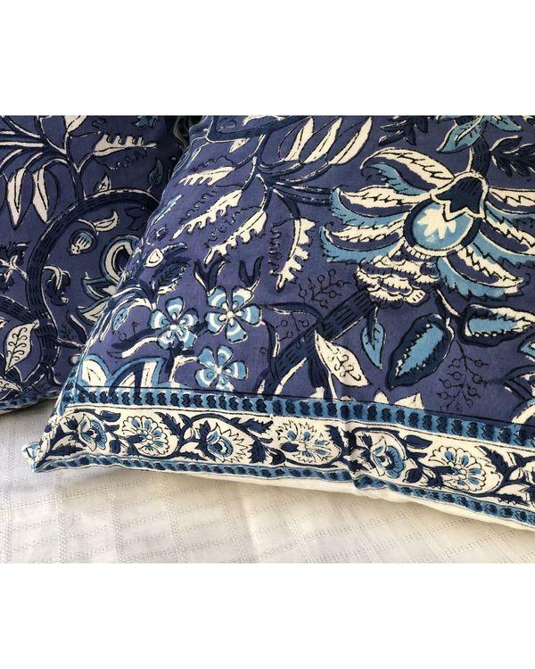 Indigo floral handblock printed cushion cover - set of two 2