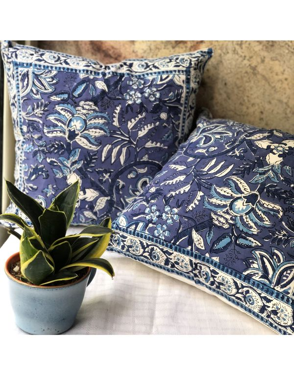 Indigo floral handblock printed cushion cover - set of two 1