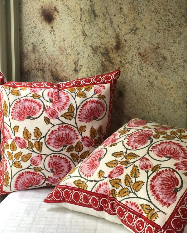 Red and white floral hand block printed cushion cover - set of two 2