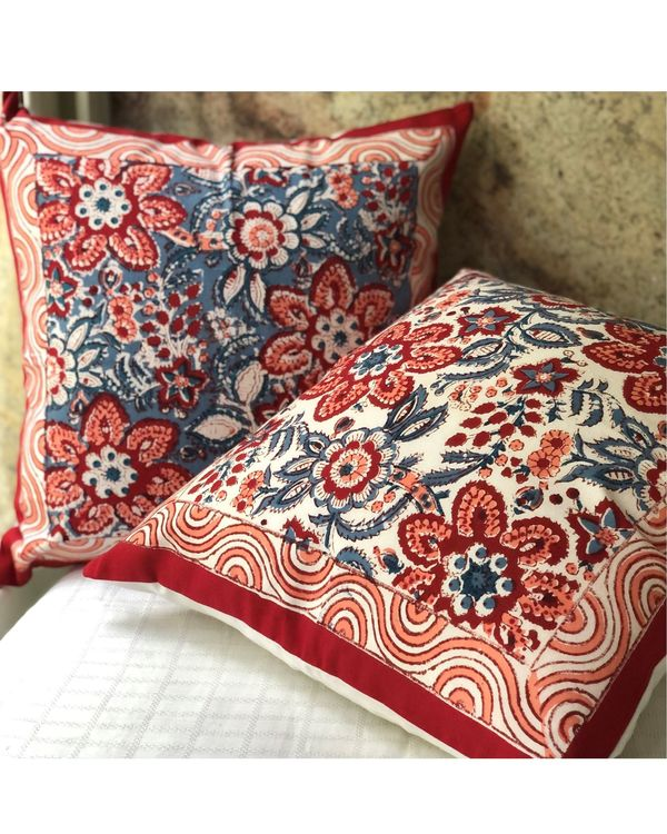 Red blooms floral hand block printed cushion cover - set of two 3