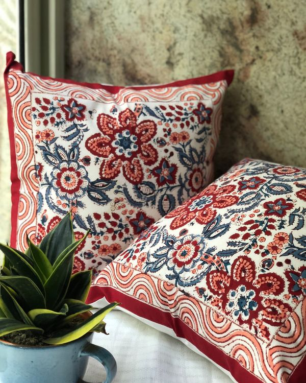 Red blooms floral hand block printed cushion cover - set of two 1