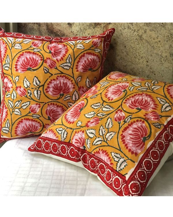 Mango yellow and pink floral hand block printed cushion cover - set of two 3