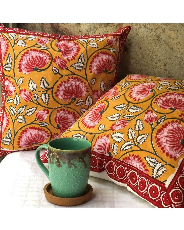 Mango yellow and pink floral hand block printed cushion cover - set of two 2