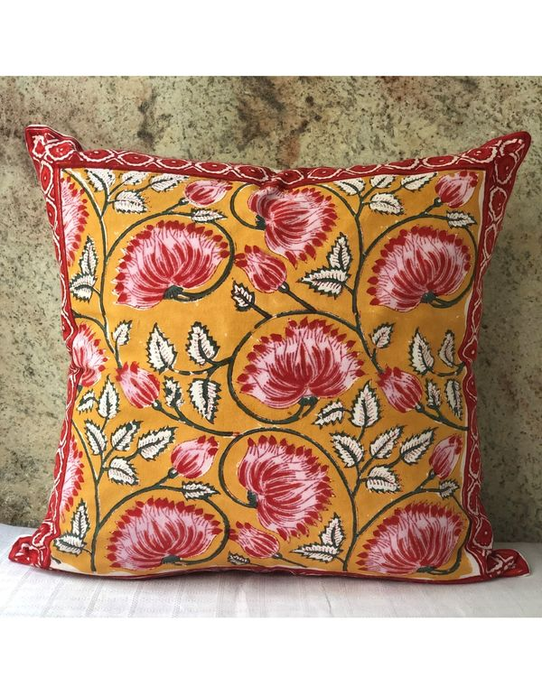 Mango yellow and pink floral hand block printed cushion cover - set of two 1