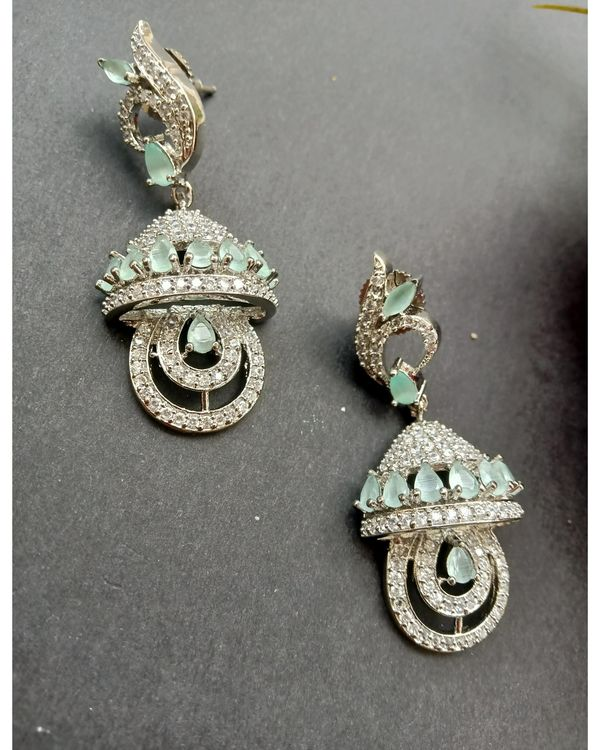 Mint green stone embedded neckpiece with earrings - set of two 2