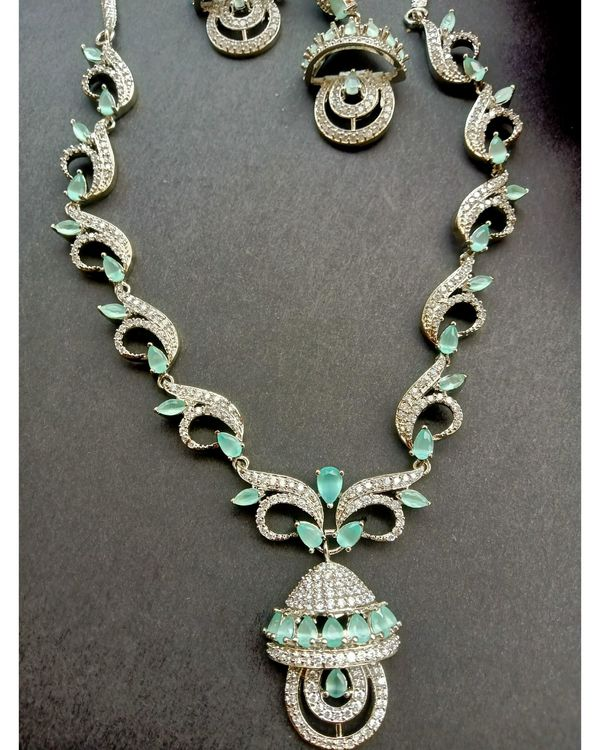 Mint green stone embedded neckpiece with earrings - set of two 1