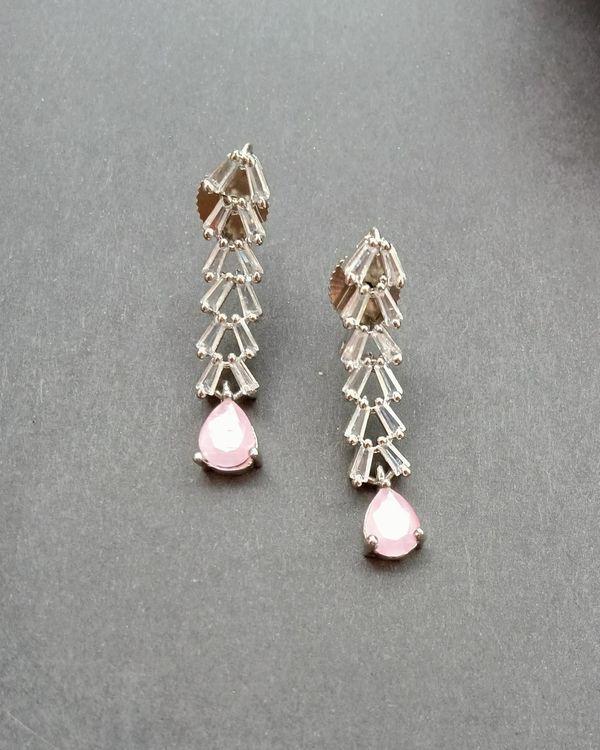 Pink quartz drop neckpiece with earrings - set of two 2