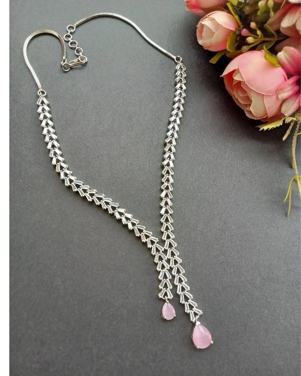 Pink quartz drop neckpiece with earrings - set of two 1