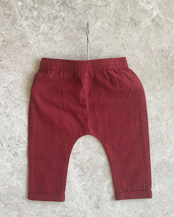 Red malkha cotton pants 1