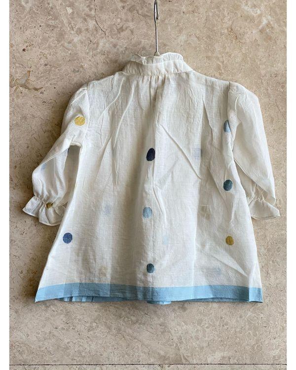 Off white jamdani muslin dress with inner - set of two 3