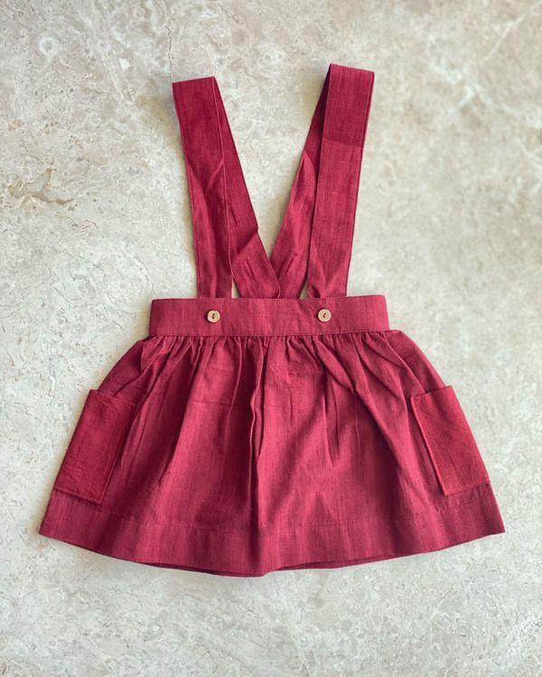 Red suspender skirt 1