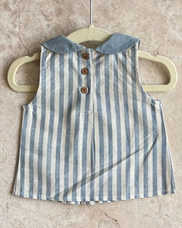 Off  white and blue striped top with knickers - set of two 2