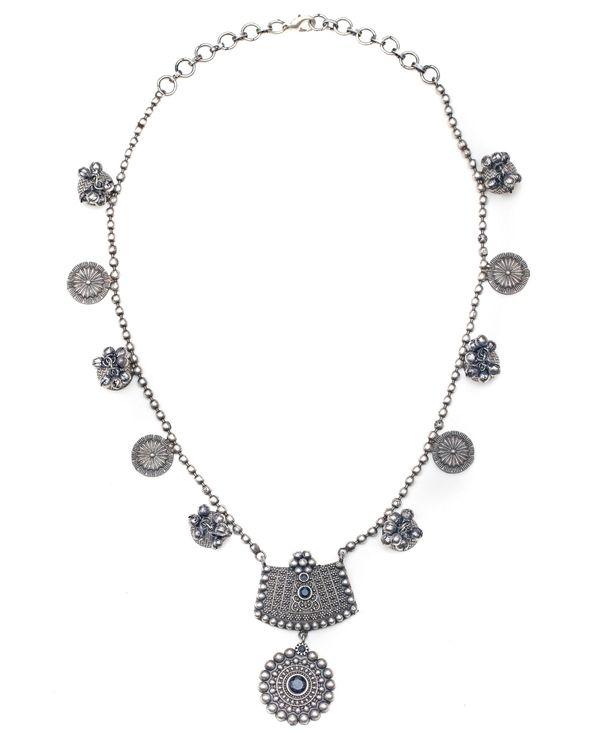 Floral engraved beaded neckpiece 2