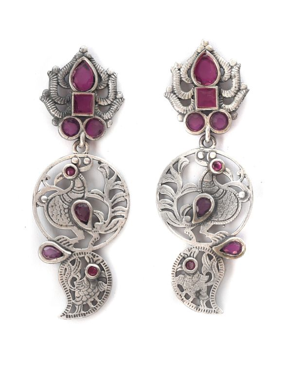 Pink studded floral engraved earrings 2