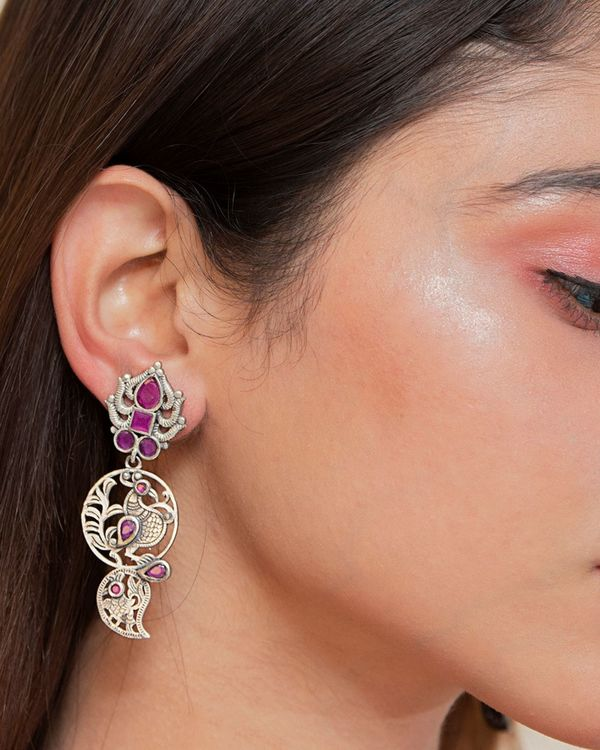 Pink studded floral engraved earrings 1