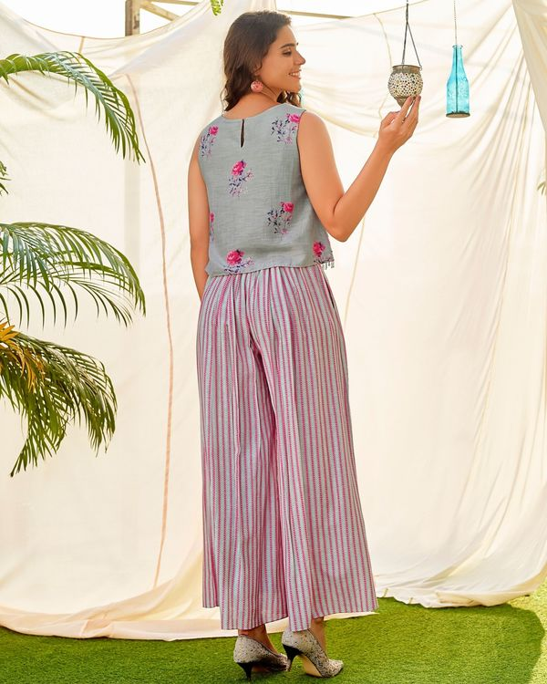 Grey and pink floral digital printed crop top and  striped palazzo - set of two 2