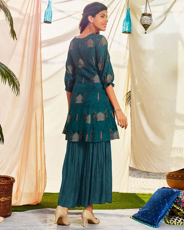Blue digital printed kurta and hand embroidered sharara - set of two 2