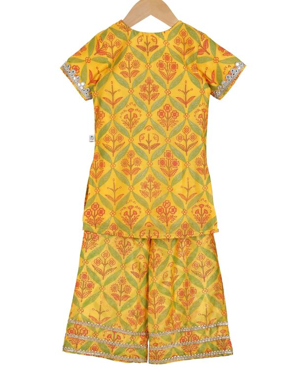 Saffron mirror embroidery kurta and palazzo - set of two 1