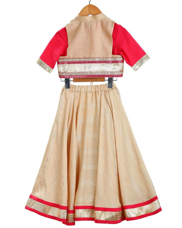 Red and beige crop top and jacket with lehenga - set of three 1