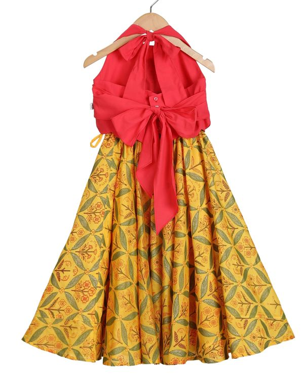 Red halter scalloped top and saffron lehenga - set of two 1