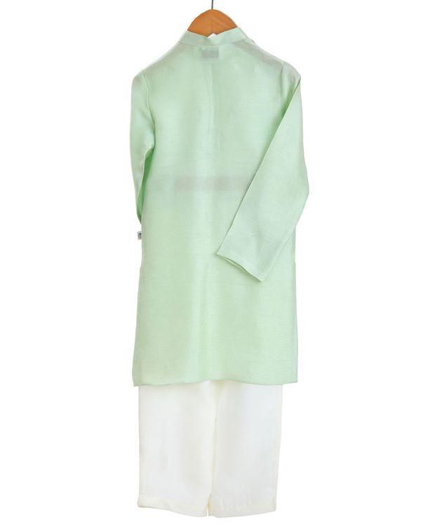 Mint embroidered kurta and ivory pajama - set of two 1