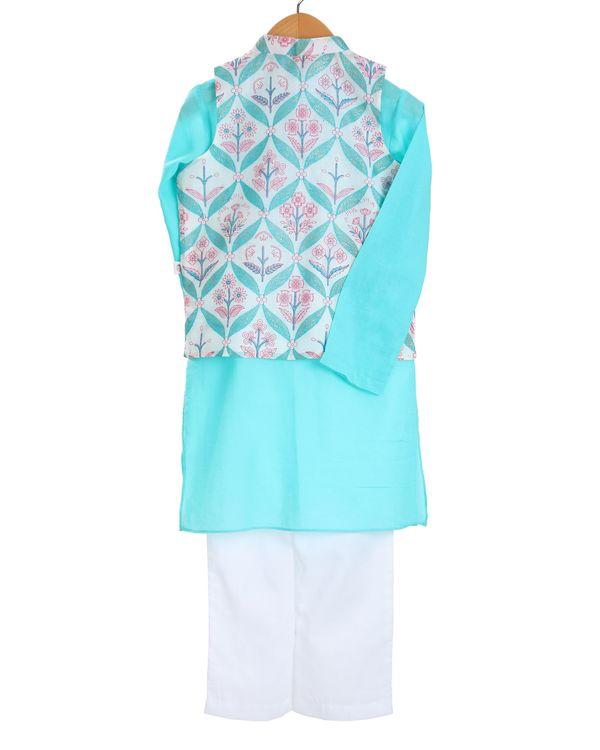Turquoise kurta and ivory pajama with botanical printed jacket - set of three 1